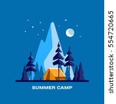 summer camp. night landscape... | Shutterstock .eps vector #554720665