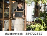 cafe open shop retail welcome... | Shutterstock . vector #554722582