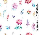 abstract watercolor floral... | Shutterstock . vector #554742826