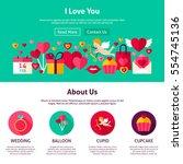 website design i love you. flat ... | Shutterstock .eps vector #554745136