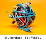 tangled roll of computer wires... | Shutterstock . vector #554746582