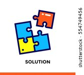 linear solution icon for new... | Shutterstock .eps vector #554749456