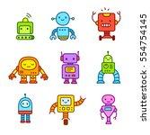 cute little cartoon robots set. ... | Shutterstock .eps vector #554754145