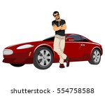 vector illustration of a young... | Shutterstock .eps vector #554758588