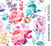abstract watercolor floral... | Shutterstock . vector #554763352