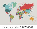 world map countries vector on... | Shutterstock .eps vector #554764342
