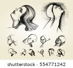 sketch of human face expression | Shutterstock .eps vector #554771242