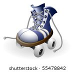 blue roller skates with untied... | Shutterstock .eps vector #55478842