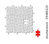 red and grey puzzle on a white... | Shutterstock .eps vector #55480123
