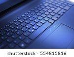 modern laptop keyboard close up