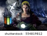 psychic or fortune teller with... | Shutterstock . vector #554819812