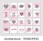 set of pink grunge happy... | Shutterstock .eps vector #554819932