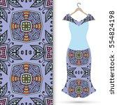 beautiful fashion illustration. ... | Shutterstock .eps vector #554824198