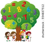 kids and numbers on the tree...