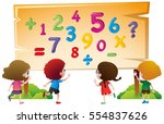 kids and numbers on wooden... | Shutterstock .eps vector #554837626