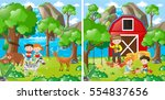 two farm scenes with kids and... | Shutterstock .eps vector #554837656