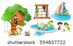 children having fun doing... | Shutterstock .eps vector #554837722