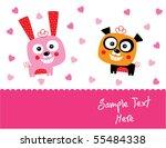 bunny and panda couple love | Shutterstock .eps vector #55484338