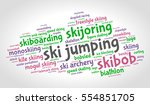 ski jumping. word cloud ... | Shutterstock .eps vector #554851705