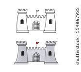 fortress in grey color   black... | Shutterstock .eps vector #554867932