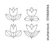 black outlined flower with... | Shutterstock .eps vector #554868466