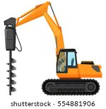 tractor with drill for digging... | Shutterstock .eps vector #554881906