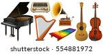 mixed musical instruments on... | Shutterstock .eps vector #554881972