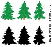 small new year tree on white... | Shutterstock .eps vector #554883796
