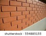 perspective bricks wall. | Shutterstock . vector #554885155