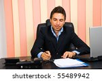 happy business man sitting at... | Shutterstock . vector #55489942