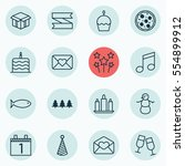 set of 16 holiday icons.... | Shutterstock . vector #554899912