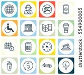 set of 16 transportation icons. ... | Shutterstock . vector #554900005