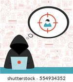 hacker wearing hoodie with... | Shutterstock .eps vector #554934352