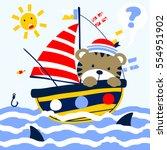 sailor kid under shark attack... | Shutterstock .eps vector #554951902