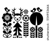scandinavian folk art pattern   ... | Shutterstock .eps vector #554953666