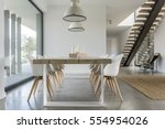 dining room with window ... | Shutterstock . vector #554954026