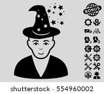 magic master icon with bonus... | Shutterstock .eps vector #554960002