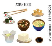 asian food. collection of... | Shutterstock .eps vector #554969206