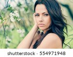 portrait of a lovely young... | Shutterstock . vector #554971948