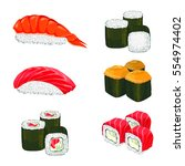 collection of sushi types.... | Shutterstock .eps vector #554974402
