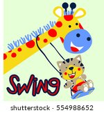 cat playing swing with giraffe... | Shutterstock .eps vector #554988652
