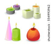 aroma candles with little flame.... | Shutterstock .eps vector #554993962