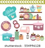 kitchen set | Shutterstock .eps vector #554996128
