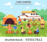 camping and hiking composition... | Shutterstock .eps vector #555017812