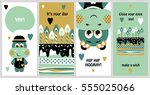 set of 6 cute creative cards... | Shutterstock .eps vector #555025066