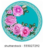 floral background. the round... | Shutterstock . vector #555027292