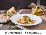 Pasta Carbonara On White Plate...