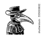 plague doctor with bird mask... | Shutterstock .eps vector #555033832