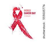cancer day awareness ribbon.... | Shutterstock .eps vector #555035776