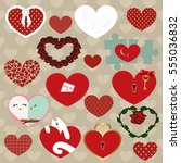 set of colored icons of hearts. ... | Shutterstock .eps vector #555036832